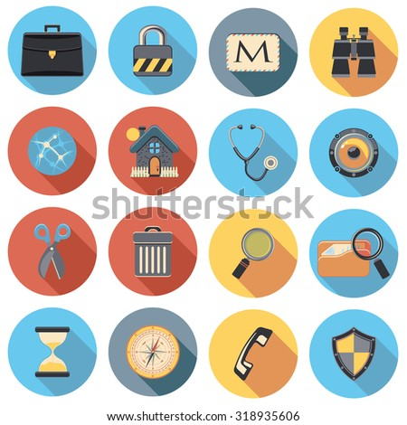 web icons circle flat set - stock vector