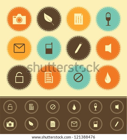 web icons collection  - vintage set - stock vector