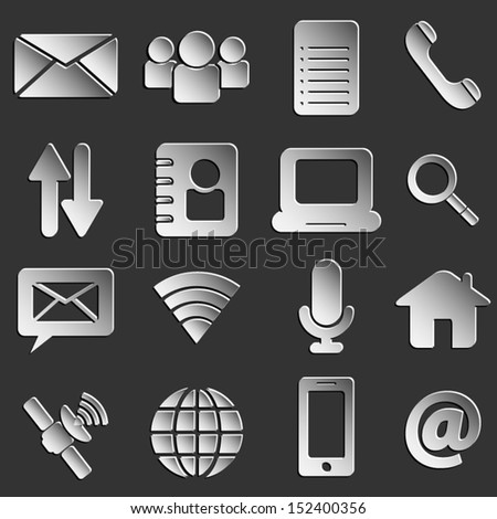 web icons 3d black paper style eps 10 vector illustration