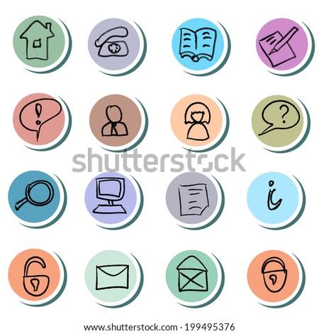 Web Icons doodles Set - stock vector