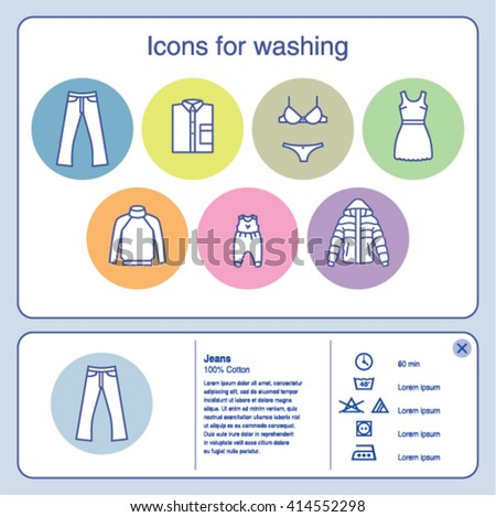 Web Icons Washing Jeans Baby Clothes Stock Vector 414552298
