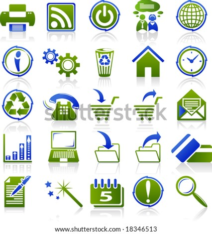 web icons green blue series