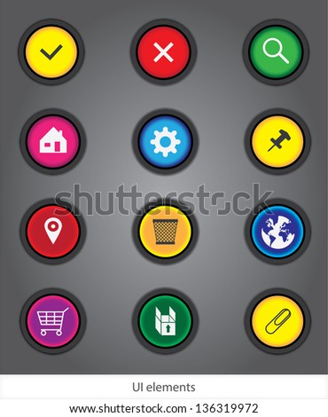 Web icons Interface for web design: colored buttons