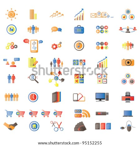 Web Icons, Internet & website icons, signs and symbols, office & universal icons, icons set, web buttons - Vector - stock vector