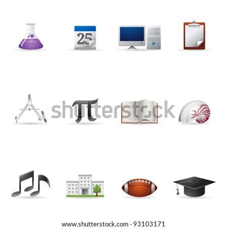 Web Icons - More School - stock vector