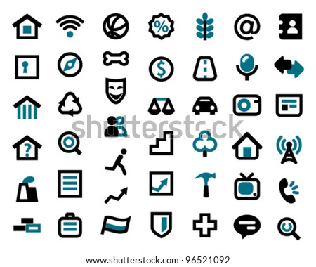 Web icons on a white background