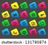 Web icons on colored cut square buttons, set 1. Image contains transparency - you can put it on every surface. 10 EPS - stock vector