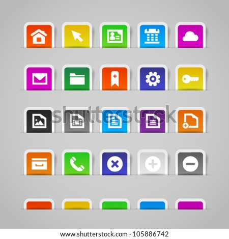 Web icons on colorful paper stickers, set 1. Image contains transparency in shadows - you can put it on every surface. 10 EPS - stock vector
