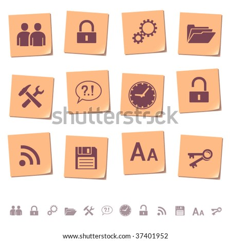 Web icons on memo notes 3 - stock vector