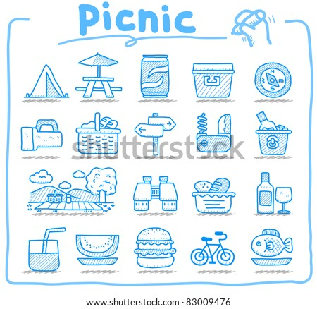 Web Icons,picnic & camping  icons, travel & holiday icons, icons Set, web buttons - Vector , interface, - stock vector