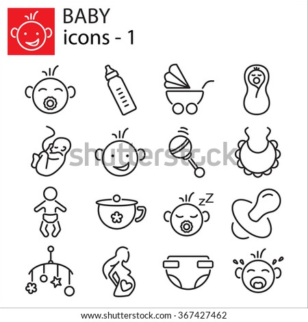 Web icons set - Baby toys, feeding and care - stock vector