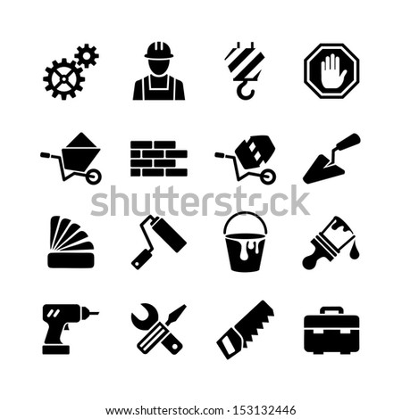 Web icons set - building, construction, tools, repair and decoration works - stock vector