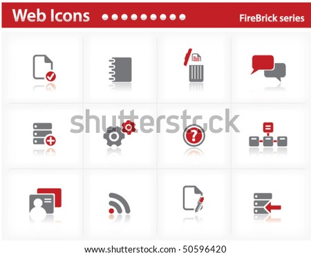 Web icons set - FireBrick series set 9 - stock vector