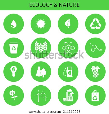 Web icons set Green, Ecology and environment  in vector format. Design flat.