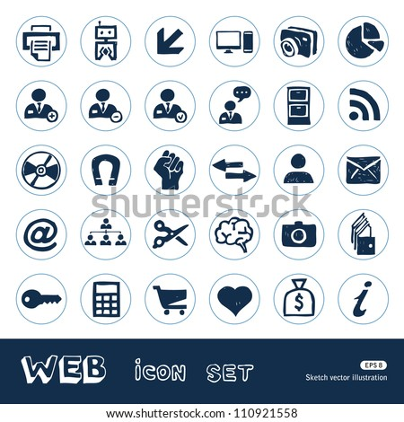 Web icons set. Hand drawn sketch illustration isolated on white background