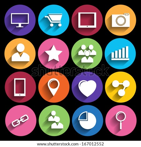 Web Icons Set in Flat Design - stock vector