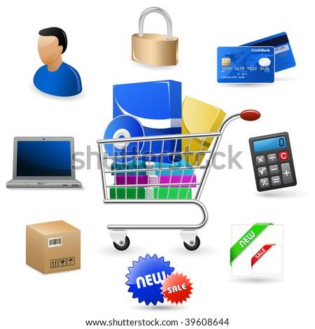 Web icons set - Software Shop - stock vector