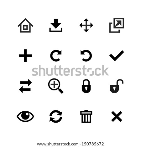 Web icons set. Toolbar, edit and customize - stock vector