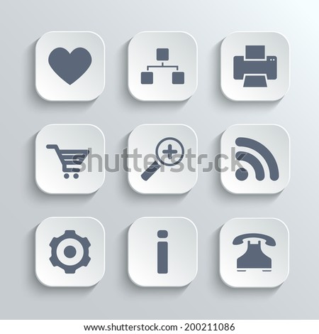 Web icons set - vector white app buttons with heart follow printer sitemap shopping cart zoom rss settings gear information telephone - stock vector
