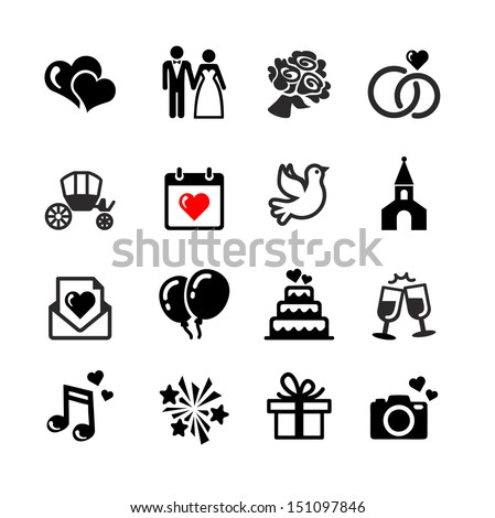 Web icons set. Wedding, bride and groom, love, celebration. - stock vector