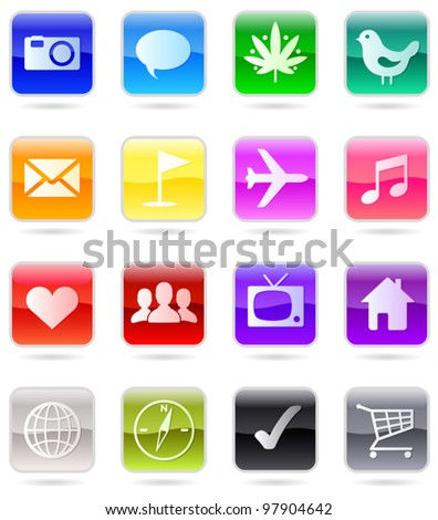 Web icons vector color set, isolated on white - stock vector