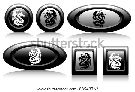web icons with dragons black and white - stock vector