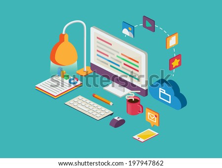 Web illustration, vector elements and icons. - stock vector