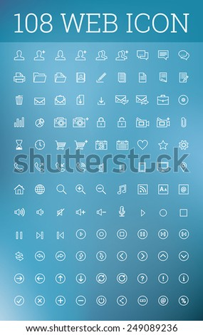 Web infographic white icon set on blue background - stock vector