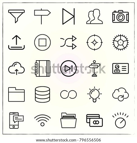 Web Interface line icons set shuffle and wifi