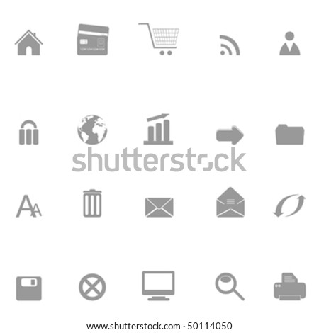 Web, internet and e-commerce related icon set silhouette - stock vector