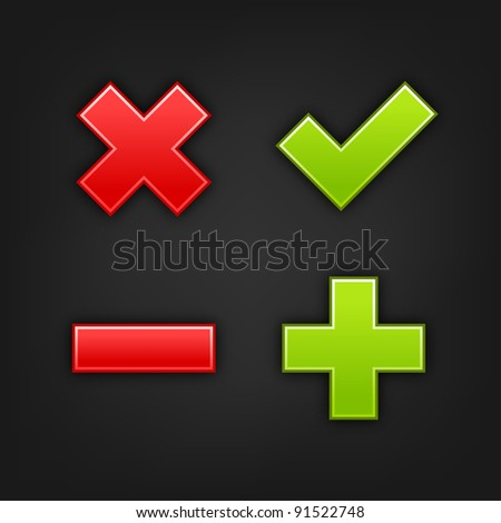 Web internet button validation icons with black drop shadow on dark gray background. This vector illustration created and saved in 10 eps - stock vector