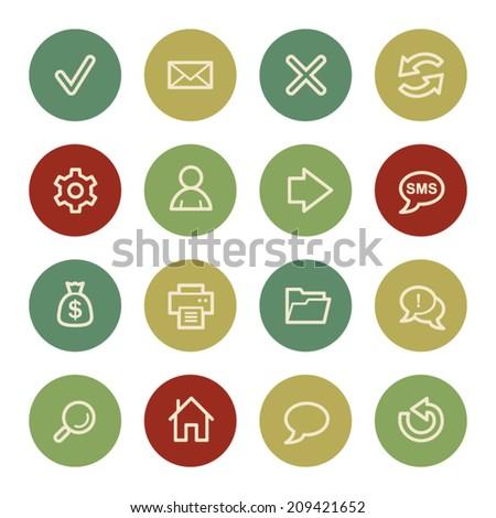 Web & internet icon set 1, vintage color  - stock vector