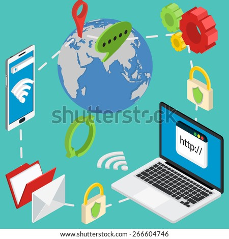 web isometric online safety data protection secure connection cryptography antivirus - stock vector