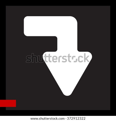 Web line icon. Arrow right - down - stock vector