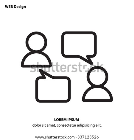 Web line icon - Business; Negotiations, dialog - stock vector