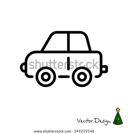 Web line icon. Car, children's toy