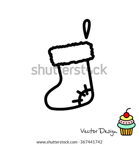 Web line icon. Christmas boot for gifts, Santa's boot - stock vector