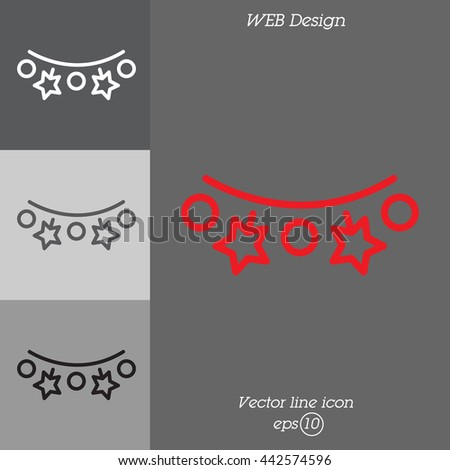 Web line icon. Christmas lights - stock vector