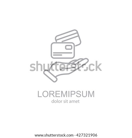 Web line icon. Credit card in hand - stock vector