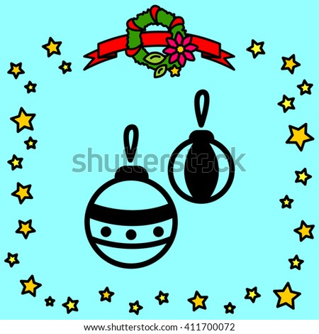 Web line icon. Decorations for the Christmas tree, Christmas balls