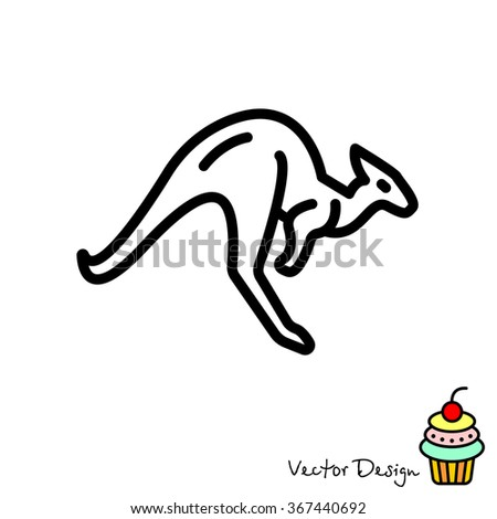 Web line icon. Kangaroo; wild animals