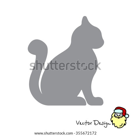 Web line icon. Silhouette of cats; cat - stock vector