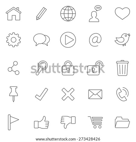 Web line icons set.Vector - stock vector