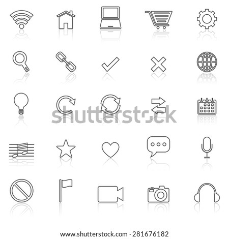 Web line icons with reflect on white, stock vector - stock vector