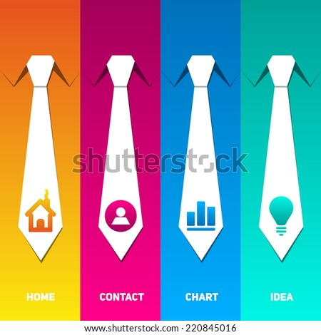 Web management icons set with neck tie back ground - stock vector