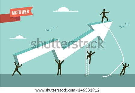 Web marketing chart with people design. This illustration is layered for easy manipulation and custom coloring