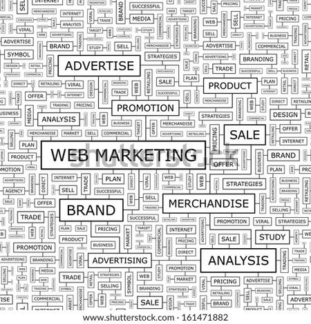WEB MARKETING. Seamless pattern. Word cloud illustration. Vector illustration. - stock vector