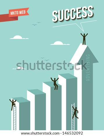 Web marketing Success chart design. This illustration is layered for easy manipulation and custom coloring - stock vector