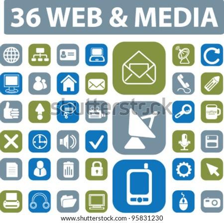 web & media buttons vector - stock vector