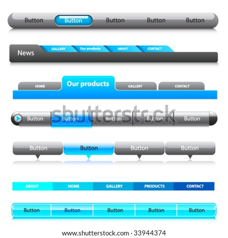 Web menu header set. Vector.